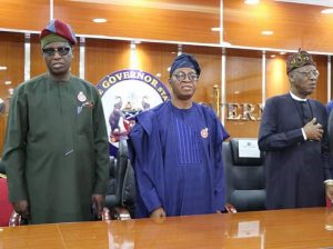Second pix:  Minister of Information and Culture, Alhaji Lai Mohammed (right); Osun State Governor, Mr. Adegboyega Oyetola (middle) and the Deputy Governor of Osun State, Mr. Benedict Gboyega (left) when the Minister paid a courtesy visit to the Governor in Osun on Tuesday, after inspecting the Osun-Osogbo Sacred Grove.